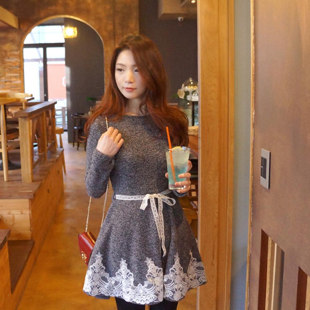 【Seoul Holic】精緻蕾絲花邊腰帶洋裝 (灰色)