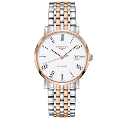 LONGINES 浪琴 Elegant 羅馬機械腕錶-白x雙色版/39mm