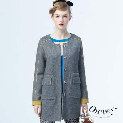 OUWEY歐薇-無領配色飾條毛衣外套-共2色