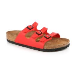 勃肯BIRKENSTOCK 054741。佛羅里達 三條復古拖鞋(亮紅)