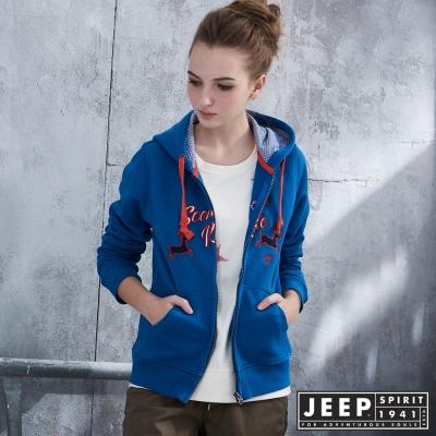 JEEP 女裝 探險麋鹿貼布帽TEE外套 -藍色