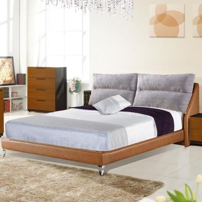 居家生活 露易威廉5尺淺咖啡皮雙人床架(不含床墊)