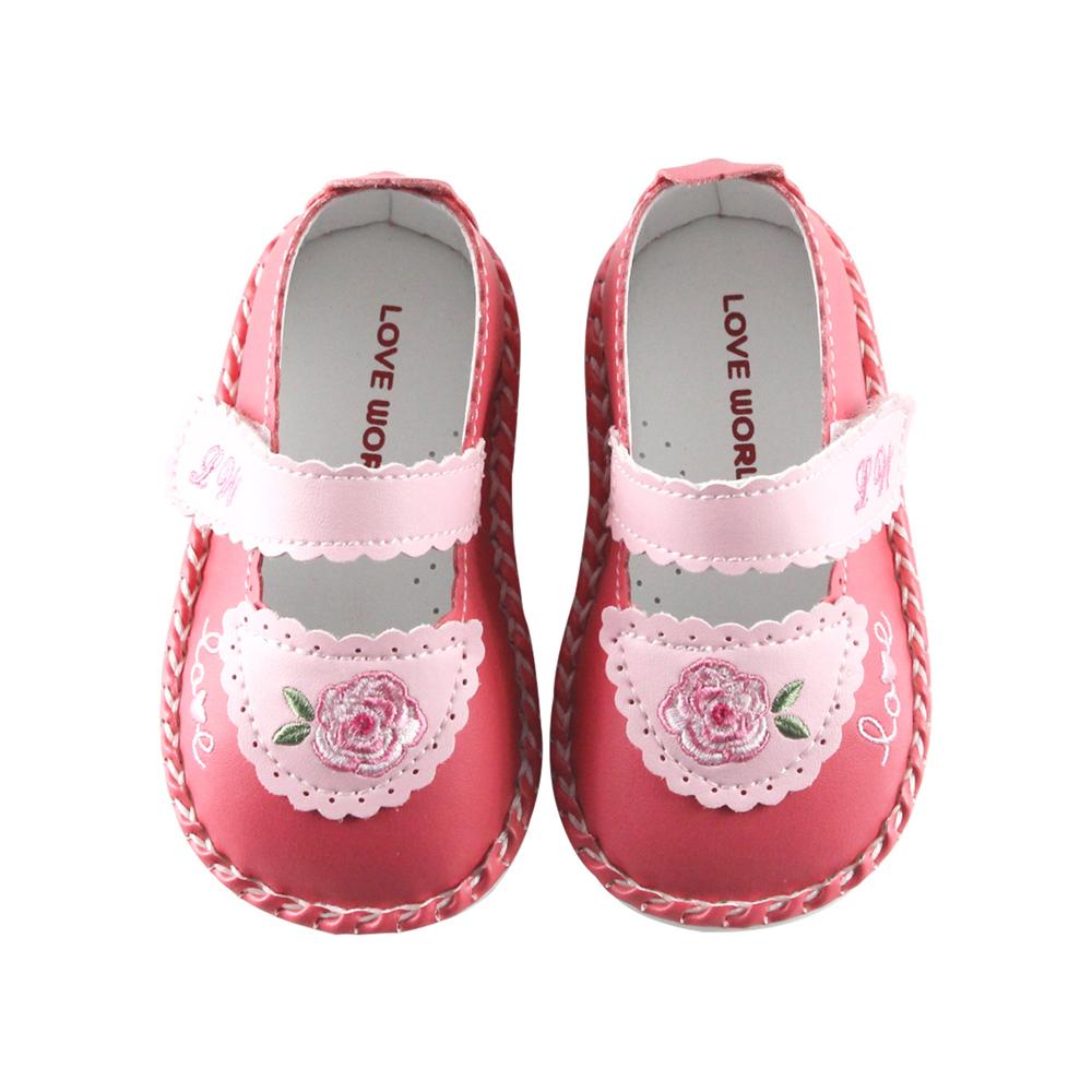 愛的世界 玫瑰小熊寶寶鞋/學步鞋-台灣製-