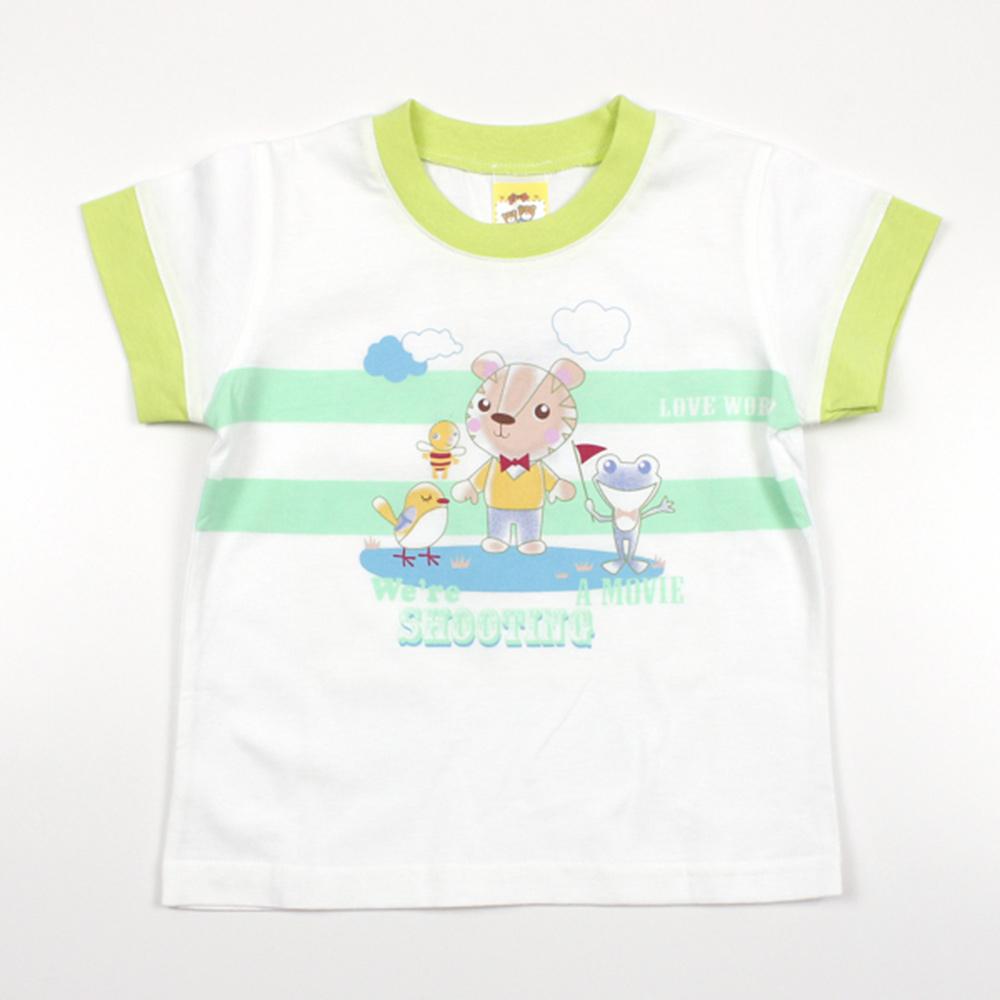 愛的世界 MYBABY 純棉圓領拚色短袖T恤/1歲