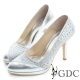 GDC-羊皮水鑽麂皮拼接真皮高跟鞋(婚鞋)-銀色 product thumbnail 1
