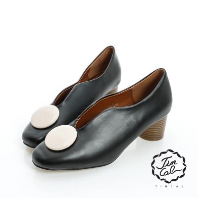 TINCAL-都會時尚-質感圓飾不規則性感中跟裸靴-黑色