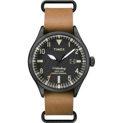 TIMEX 天美時 經典潮流腕錶Waterbury系列-黑面/咖啡帶- 40 mm