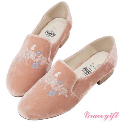 Disney collection by grace gift刺繡絲絨樂福休閒鞋 粉