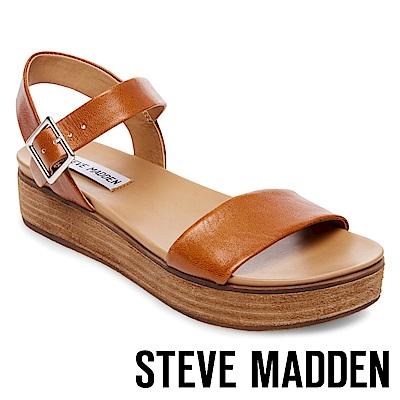 STEVE MADDEN-AIDA 真皮一字繫帶厚底涼鞋-棕色