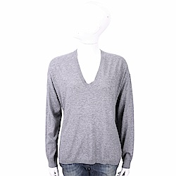 ALLUDE 喀什米爾極簡純色灰色針織羊毛衫