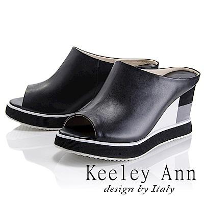 Keeley Ann 都會美感~後鏤空雙色拼接楔形魚口拖鞋(黑色-Asin系列)