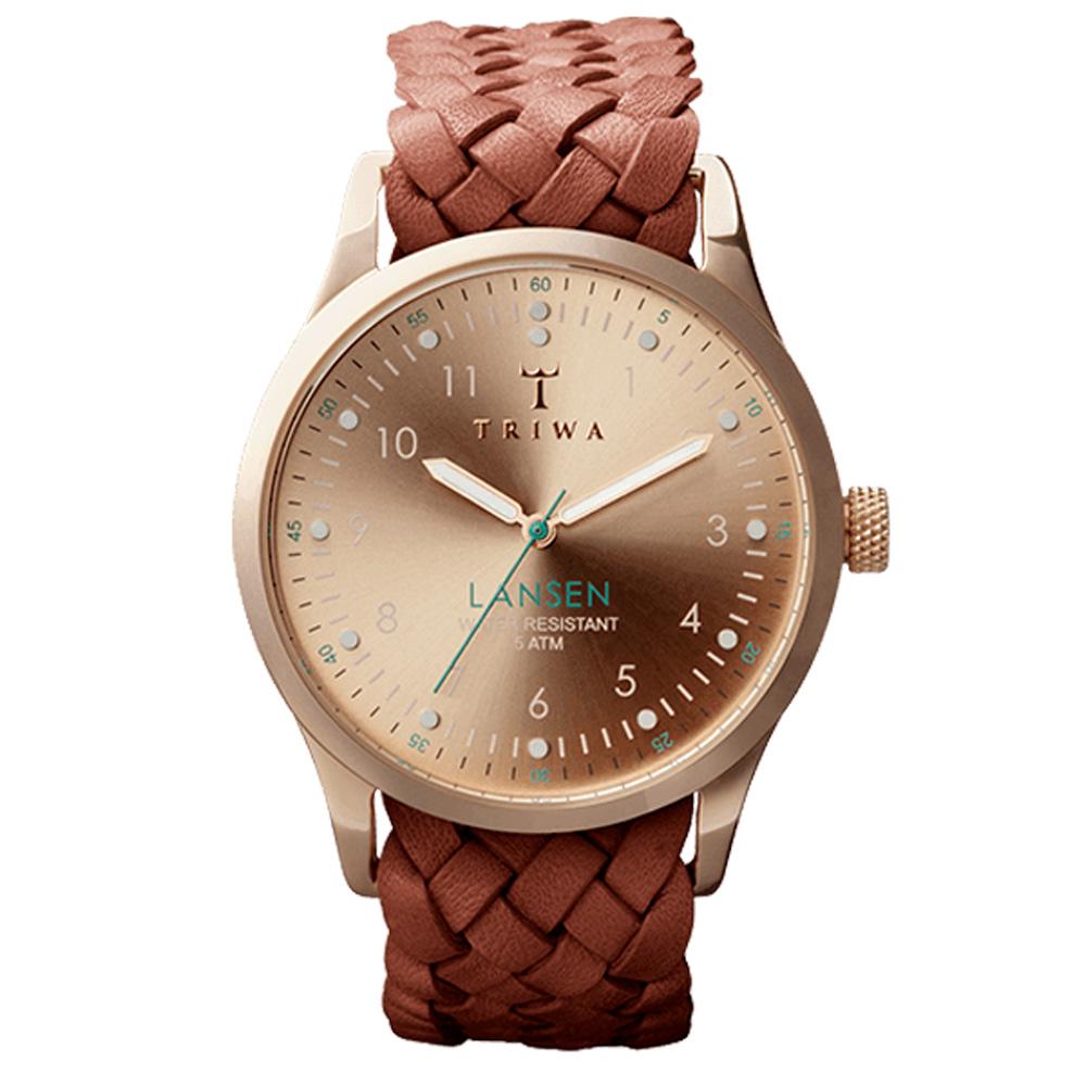 TRIWA LANSEN系列 北歐編織風格時尚腕錶-玫瑰金X咖啡/37mm