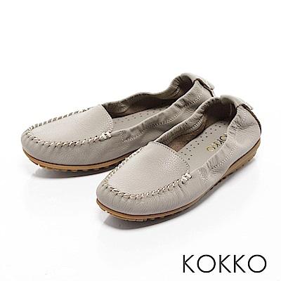 KOKKO - 人氣真皮彈力彎折豆豆樂福鞋 - 中性灰
