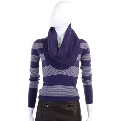MARIA DIRIPABIANCA紫白條紋翻領針織毛衣(100�SHMERE)