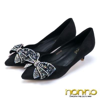 nonno-宴會公主-彩鑽蝴蝶結v字尖頭細低跟鞋