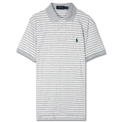 Ralph Lauren 小馬透氣純棉細條紋POLO衫(灰白)