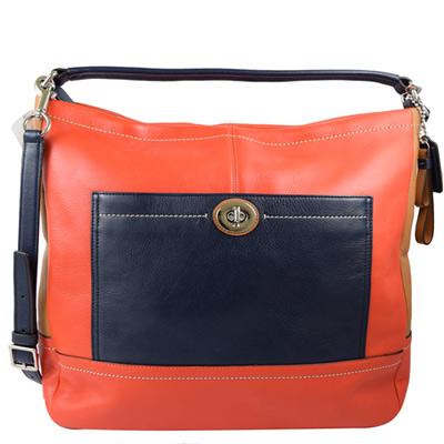 COACH  簡約質感撞色全皮革兩用仕女包.橘紅(大)
