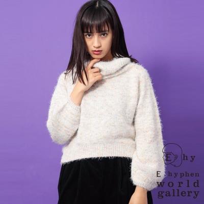 E hyphen 舒適高領袖縮口針織毛衣
