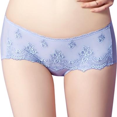 思薇爾 芭紗花園系列M-XL蕾絲刺繡低腰平口內褲(紫繡球)