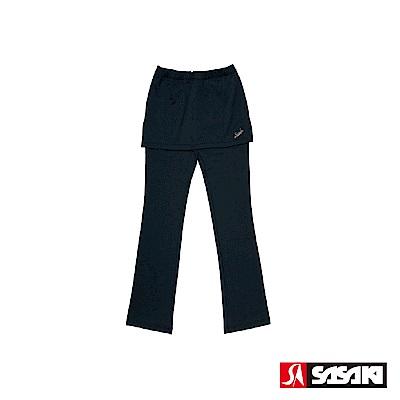 SASAKI 高彈力有氧韻律裙長褲-女-黑