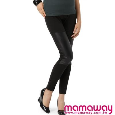 Mamaway皮格剪接貼腿褲黑