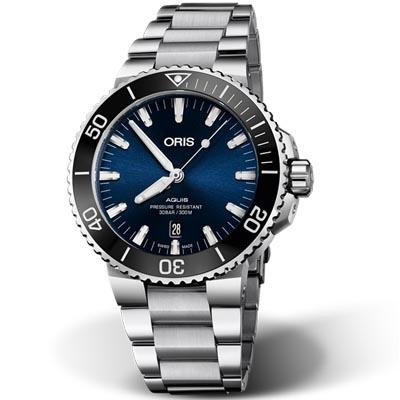 ORIS 豪利時 Aquis 時間之海潛水機械腕錶-藍43.5mm