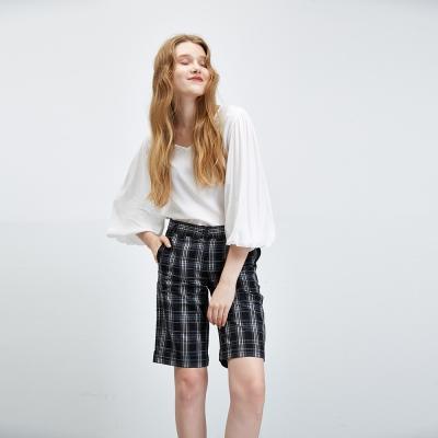 Hana+花木馬 經典英倫風格紋時尚百搭造型五分馬褲