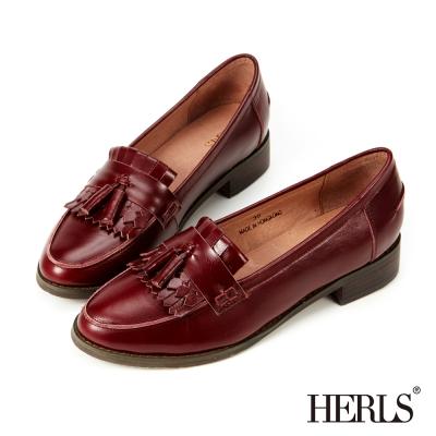 HERLS-全真皮復古流蘇樂福鞋-酒紅色