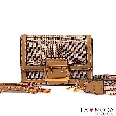 La Moda 大人氣百搭單品千鳥紋肩背斜背小方包(淺棕)