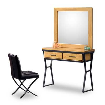 時尚屋 工業風實木3尺鏡台-含椅子 寬90x深39x高156cm