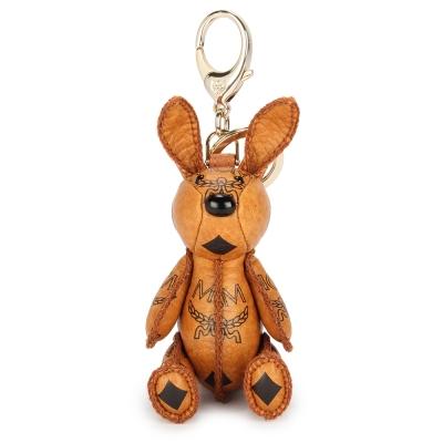 MCM VISETOS 俏皮兔經典滿版LOGO鑰匙圈吊飾-棕色