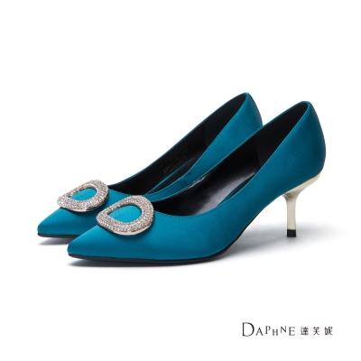達芙妮DAPHNE 高跟鞋-橢圓鑽飾緞面尖頭鞋-藍