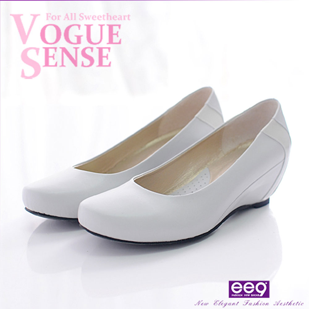 ee9-通勤時尚-進口小牛皮+羊漆皮內增高楔型淑女鞋-注目灰