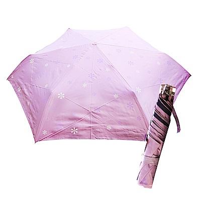 舒亦媚-抗UV防曬三折晴雨傘(雪花-紫底白花)