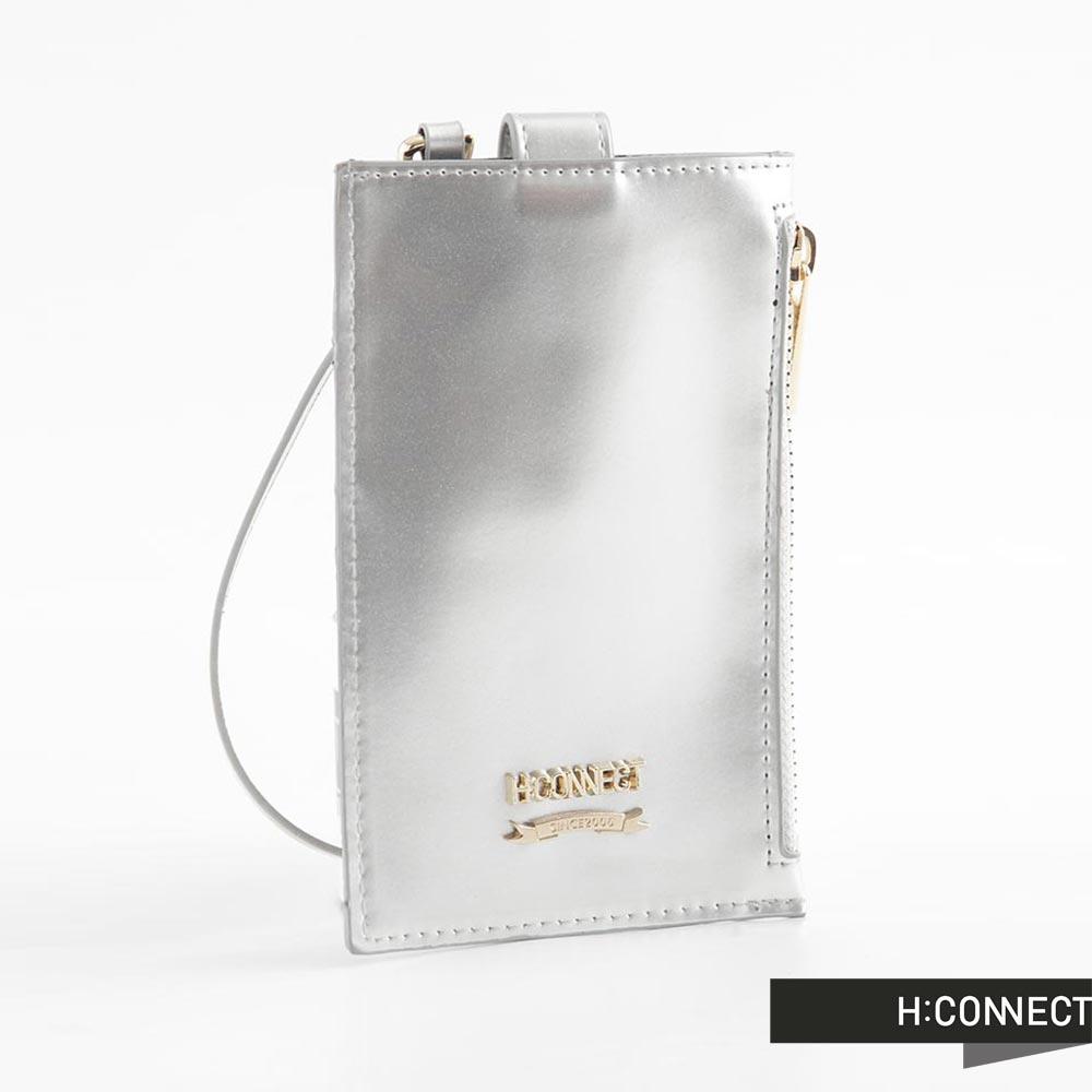H:CONNECT 韓國品牌 純色皮革卡夾零錢包 - 銀