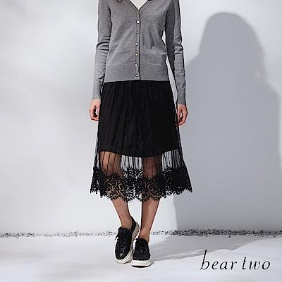 beartwo 網路獨家-雙層細緻蕾絲感紗裙(二色)