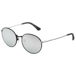 POLICE - 復古圓框 水銀面 太陽眼鏡 (黑色)