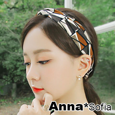 AnnaSofia 藝術墨染三角線交叉結 彈性寬髮帶(橘咖系)