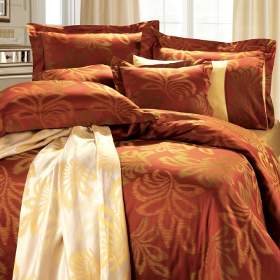 HOYACASA 佛蘿倫斯-耀眼紅 雙人六件式色織緹花長絨天絲被套床包組