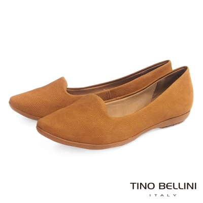 Tino Bellini 巴西進口細緻壓紋真皮舒適樂福鞋_棕