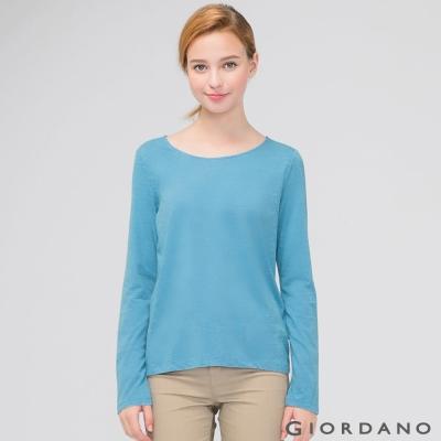 GIORDANO 女裝簡約素色棉質圓領長袖T恤 - 04 尼亞加拉河藍色