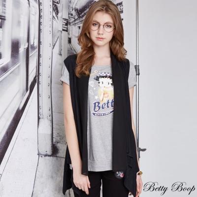 Betty-Boop貝蒂柔感雪紡不規則長版針織背心