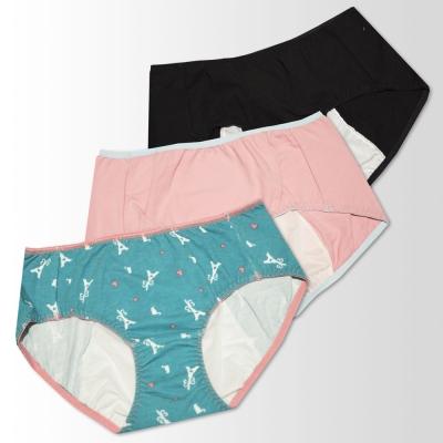 蕾黛絲-防漏透氣印花生理褲3件包(綠粉黑)