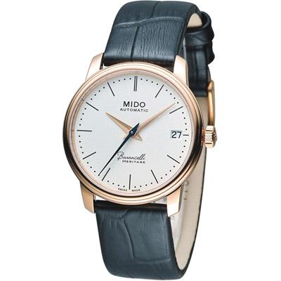 MIDO Baroncelli III 永恆系超薄時尚機械腕錶-白x玫瑰金色/33mm