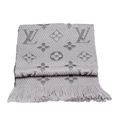 LV M74742 Monogram LOGO MANIA 羊毛針織圍巾(珍珠灰)