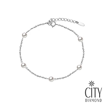 City Diamond引雅【東京Yuki系列】純銀925日本AKOYA珍珠5顆3mm手鍊