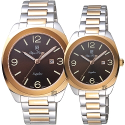 Olympianus 奧柏 經典復刻對錶-咖啡x雙色/40+34mm