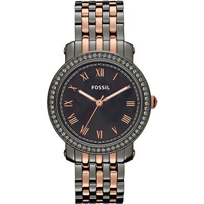 FOSSIL 羅馬情緣晶鑽腕錶-黑珍珠貝x雙色版/38mm