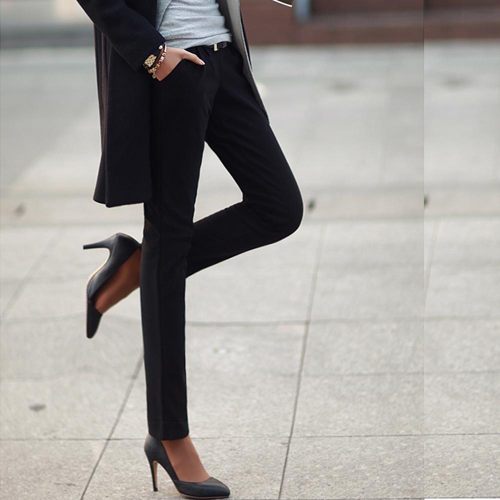 【N.C21】保暖內鋪棉修長線條休閒褲 (黑色)