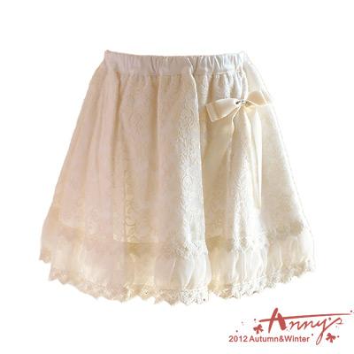 華麗刺繡蕾絲公主短裙*米白